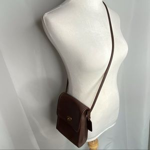 Coach Brown Leather Square Crossbody Bag Purse